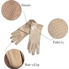 Women Dot Print Design Short Gloves Driving Sunscreen Gloves