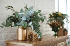 Boho Glam Holiday Party - gold painted jars + pinecones