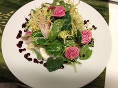 Spinach & Frisee Salad with Candy Cane Beets and Feta with Raspberry Vinaigrette @ The Bar and TY Lounge