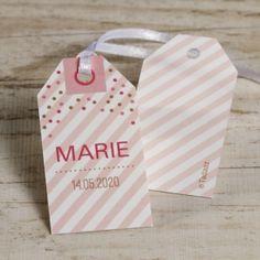 Roze label met confetti   Tadaaz #communie #lentefeest #label #tag #confetti #roze #streepjes #lint www.tadaaz.be