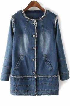 Bleach Wash Round Collar Long Sleeve Denim Coat - Everything you are looking for Mode Jeans, Denim Ideas, Denim Crafts, Recycle Jeans, Jeans Denim, Denim Fashion, Diy Clothes, Bleach Wash, Long Sleeve