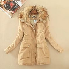 New style womens winter coats fashion hooded trench coat fur coats ...