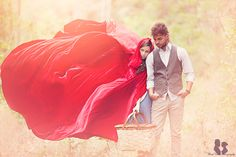 Little Red Riding Hood and Her Man: Photo by Three Nails Photography via Green Wedding Shoes