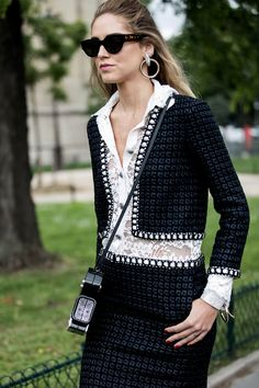 Fashionista Style: Chiara Ferragni A.K.A The Blonde Salad in a Chic Chanel look during FW16 Haute Couture Paris Fashion Week PFW.