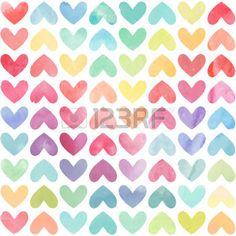 motif coeur: Aquarelle colorée transparente peinte Motif de coeurs. Day background de la Saint Valentin. Vector illustration Illustration