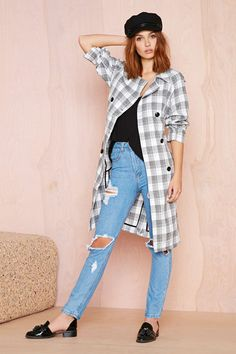 Nasty Gal, Check Yourself Trench Coat, $98.00, available at Nasty Gal