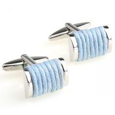 Novelty Light blue line around cufflinks