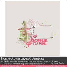 Home Grown Layered Template - Digital Scrapbooking Templates