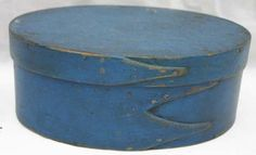 "Shaker 8"" oval finger lapped pantry box in blue paint."