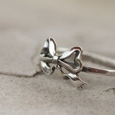 Bow Ring Sterling Silver Ring Stacking Ring by 36ten on Etsy