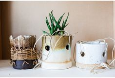 One Kings Lane - Artisanal: New Ceramics - Stoneware Hanging Planter, White - tracy wilkenson