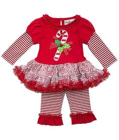 13b23a8d73ef Festive red and white CANDY CANE tutu leggings set by Rare Editions -  adorable outfit for