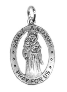 saint anthony charm sterling silver pray for us pendant Real Sterling silver 925 pendant Charm jewelry by princeofdiamonds