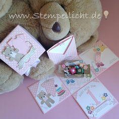 Explosionsbox zum 1. Geburtstag mit Stampin´Up Designerpapier und verschiedenen Sets wie z.B. Alles fürs Baby So viele Jahre Teddy mit der Lebkuchenmännchenstanze