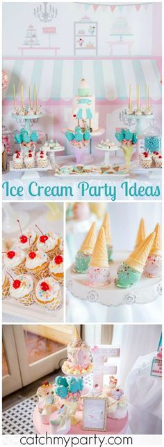 So many beautiful ideas at this ice cream birthday party! See more party ideas at Catchmyparty.com!