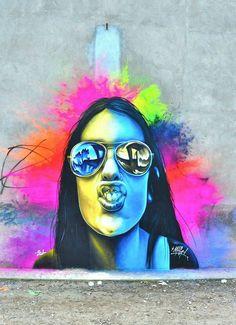 in Spain (via Street Art United States) Street Wall Art, Street Art Graffiti, Graffiti Prints, Spray Paint Art, Portraits, Dope Art, Chalk Art, Street Artists, Banksy