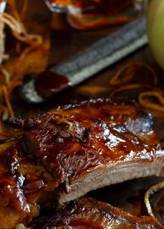 Sticky Maple Apple Ribs with Shoestring Fried Apples