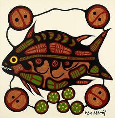 Fish by Norval Morrisseau South American Art, Native American Art, Canadian Painters, Canadian Artists, Woodland Art, Haida Art, Indie Art, Indigenous Art, Fish Art