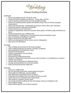 Wedding check list when to pick the cake etc perfect organiser