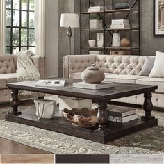 SIGNAL HILLS Edmaire Rustic Baluster Weathered Pine 60-inch Coffee Table - 16986150 - Overstock.com Shopping - Great Deals on Signal Hills Coffee, Sofa & End Tables