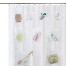 "What a great use of space & bathroom organization! Especially nice if bathroom is a shared space & people use different products. Mesh Pocket 70"" W x 72"" L Fabric Shower Curtain with Set of 12 Hooks - White"