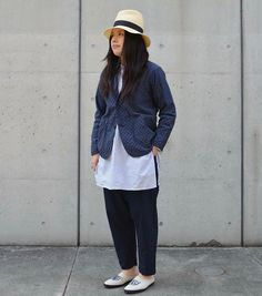 「FWK BY ENGINEERED GARMENTS」 Loiter Jacket - Diamond Jacquard - Navy / ¥41,000+tax  Banded Collar Long Shirt - Wide St.Broadcloth -  Grey / ¥29,000+tax  Balloon Pant - Cotton Oxford -  Dk. Navy / ¥27,000+tax  Sun Hat - Natural / ¥30,000+tax . 「NEEDLES」 Linen Canvas Mule Sneaker -  Off White / ¥22,000+tax  #fwkbyengineeredgarments #needles #nepenthes #nepenthestokyo