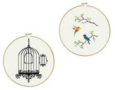 Birdcage and Released Birds   a set of two Cross by LucyXStitches, $6.50