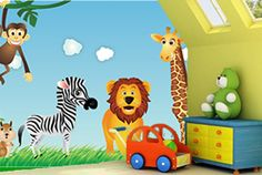 Lighter Safari wall Mural idea for pre school