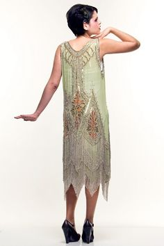 Green & Silver Embroidered Reproduction 1920's Flapper Dress