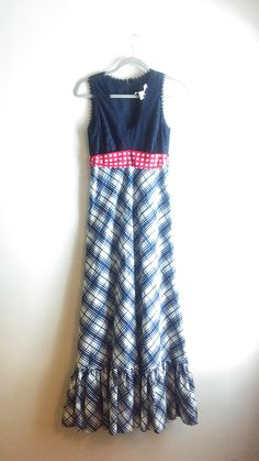 Navy Red And White Picnic Plaid Americana Empire Waist Summer Maxi Dress. Free shipping and guaranteed authenticity on Navy Red And White Picnic Plaid Americana Empire Waist Summer Maxi DressBeautiful authentic vintage, Miss Continental summ...