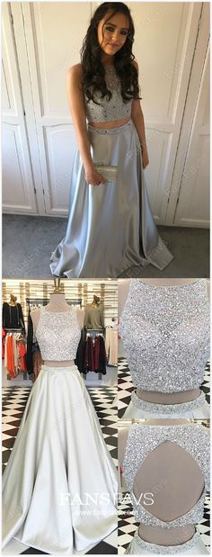 Two Piece Formal Dresses Long, Silver Prom Dresses for Teens, A-line Evening Dresses with Beading, Open Back Wedding Party Dresses Satin Pretty Homecoming Dresses, Sparkly Prom Dresses, Dresses To Wear To A Wedding, Prom Dresses For Teens, Party Dresses, School Dresses, Women's Dresses, Cheap Dresses, Occasion Dresses