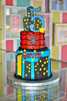 Spiderman Birthday Cake www.LeahsSweetTreats.com