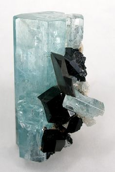 Aquamarine on Smoky Quartz