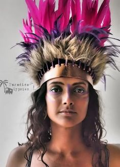 Pink & Purple Feather Crown Headdress Gold by ParadiseGypsies - part of Paradise Carnival Collection