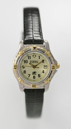 Fossil Watch Womens Date Stainless Silver Gold Black Leather 50m Beige Quartz #Fossils #Products
