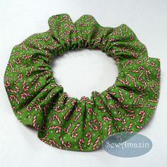Mini Candy Canes Christmas Pet Scrunchie Neck Ruffle | SewAmazin - Pets on ArtFire