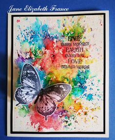 Janes World: Flutterby Butterfly Artwork, Butterfly Cards, Watercolor Cards, Watercolor Background, Watercolour, Wings Card, Watercolor Beginner, Alcohol Ink Crafts, Bee Cards