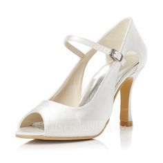 Women's Satin Stiletto Heel Peep Toe Pumps With Buckle (047048000)