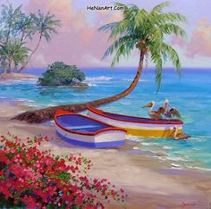 (usa) by Mikki Senkarik ). Landscape Paintings, Watercolor Paintings, Caribbean Art, Tropical Art, Diy Canvas Art, Beach Art, Beautiful Paintings, Art Pictures, Art Images