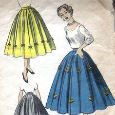Vintage 1950s Womens Full Skirt Pattern 8 Gore Draped Panels...Yup. <3
