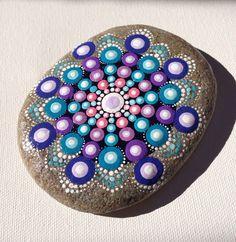 Big Dot Art Mandala Painted Stone Purple Gift  Decoration Painted rock Beachstone