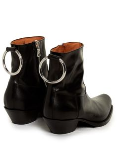 Vetements Metal-ring leather ankle boots