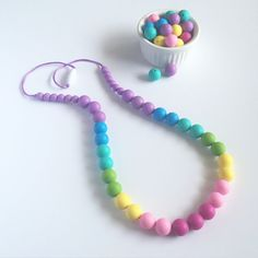 Rainbow Silicone Teething Necklace Rainbow by LittleLemonTreasures