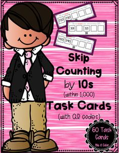 Looking for a fun and interactive way for students to practice skip counting by 10s within 1,000?  On each task card, students are provided with two numbers and a set of directions.  Students will start with the given numbers and either count forward or backward by tens, writing the three missing numbers.