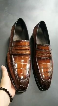 Formal Alligator Leather Loafers Dress Shoes for Men is part of Dress shoes men Formal alligator leather loafers dress shoes for men These are formal shoes yet quite tasteful ones to add a spoon of - Popular Mens Shoes, Trendy Mens Shoes, Comfortable Mens Shoes, Best Shoes For Men, Formal Shoes For Men, Mens Fashion Shoes, Formal Dress Men, Men Shoes Casual, Men's Fashion