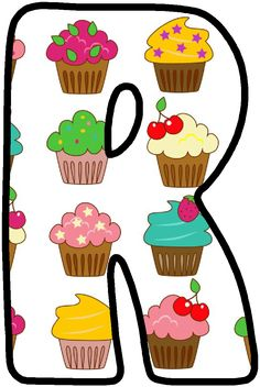 Letter R ♥ cupcakes Big Cupcake, Cupcake Party, Alphabet Cake, Alphabet Letters, Bolo Png, Birthday Cards, Happy Birthday, Minnie Png, Letter Of The Week