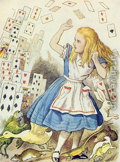 "Alice in Wonderland by John Tenniel. Tenniel was the original, and in my opinion the best, illustrator of both the ""Alice"" books."