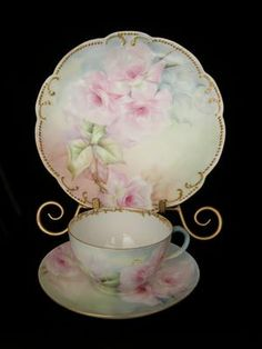 MOST MAGNIFICENT ROSES Limoges 3 Piece Breakfast Set