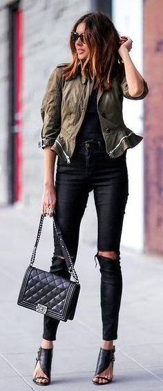 Feminine Peplum Jacket Outfits Alexander McQueen Peplum jacket ripped For a Khaki On Black Edgy and Urban Outfits, Casual Outfits, Fashion Outfits, Gothic Fashion, Feminine Dress, Feminine Style, Feminine Fashion, Khakis Outfit, Look Boho