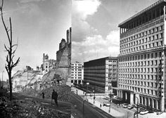 Warsaw, Poland, 1944, Photographs of a street before and after its destruction.